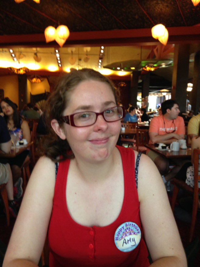 Me wearing my Birthday button at WDW!